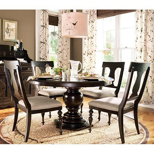 Paula deen home 5 piece round pedestal dining table set tobacco with paula chairs