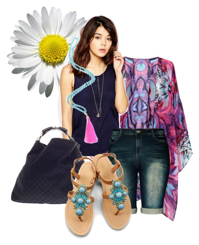 Denim shorts by stynalytical on Polyvore featuring Brave Soul, Feather & Stone, City Chic, OLIVIA MILLER and Gucci