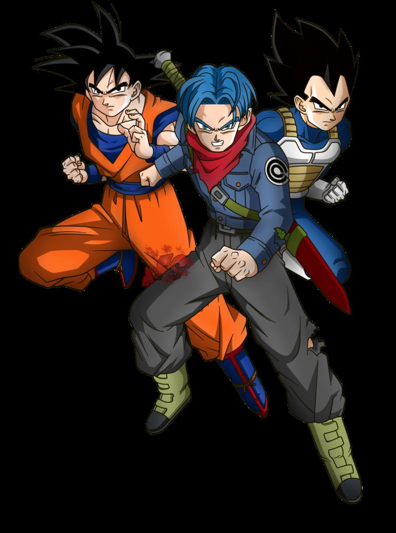 Goku Trunks Y Vegeta Render Dragon Ball Super By