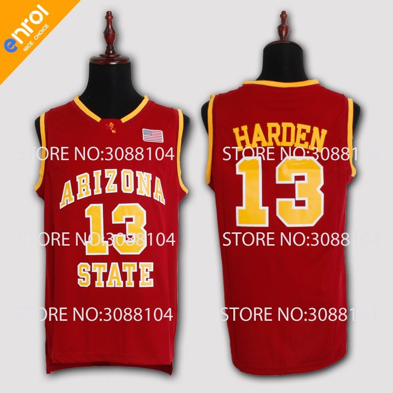 779f668cc45 ... low cost buy asu james harden basketball jersey arizona state university  13 white red yellow bed80 ...