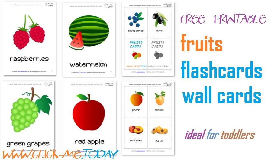 Printable Fruits Flashcards For Toddlers Kindergarten Flashcards For Toddlers Flashcards Toddler