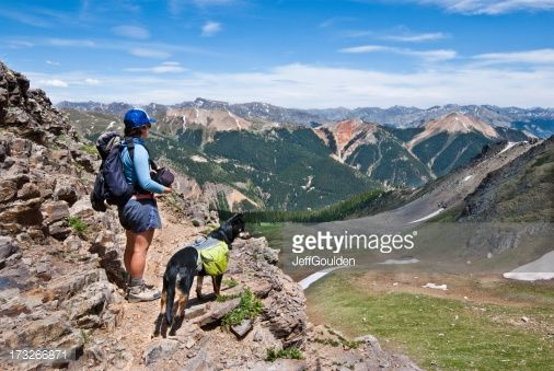 Stock Photo : Hiker and Dog Looking at the View