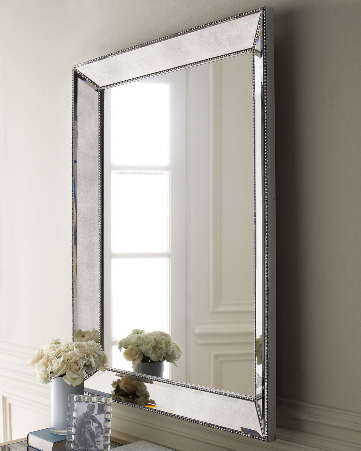 made of select hardwoods and mirrored glass beaded frame with antiqued silver finish can hang vertically or horizontally x x imported weight 68 lbs