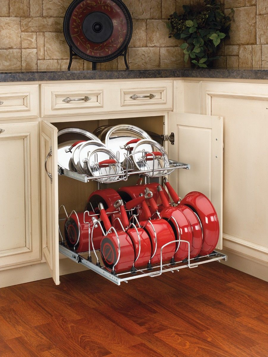 pans different for organizer pantry accommodate shelves and lowes organizers of sizes pots two a tier cabinet shelf kitchen rev cookware