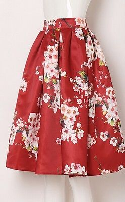 932ce894cf Vintage Hepburn Floral Print High Waist Pleated Midi Skirt Ball Gown Swing  Skirt