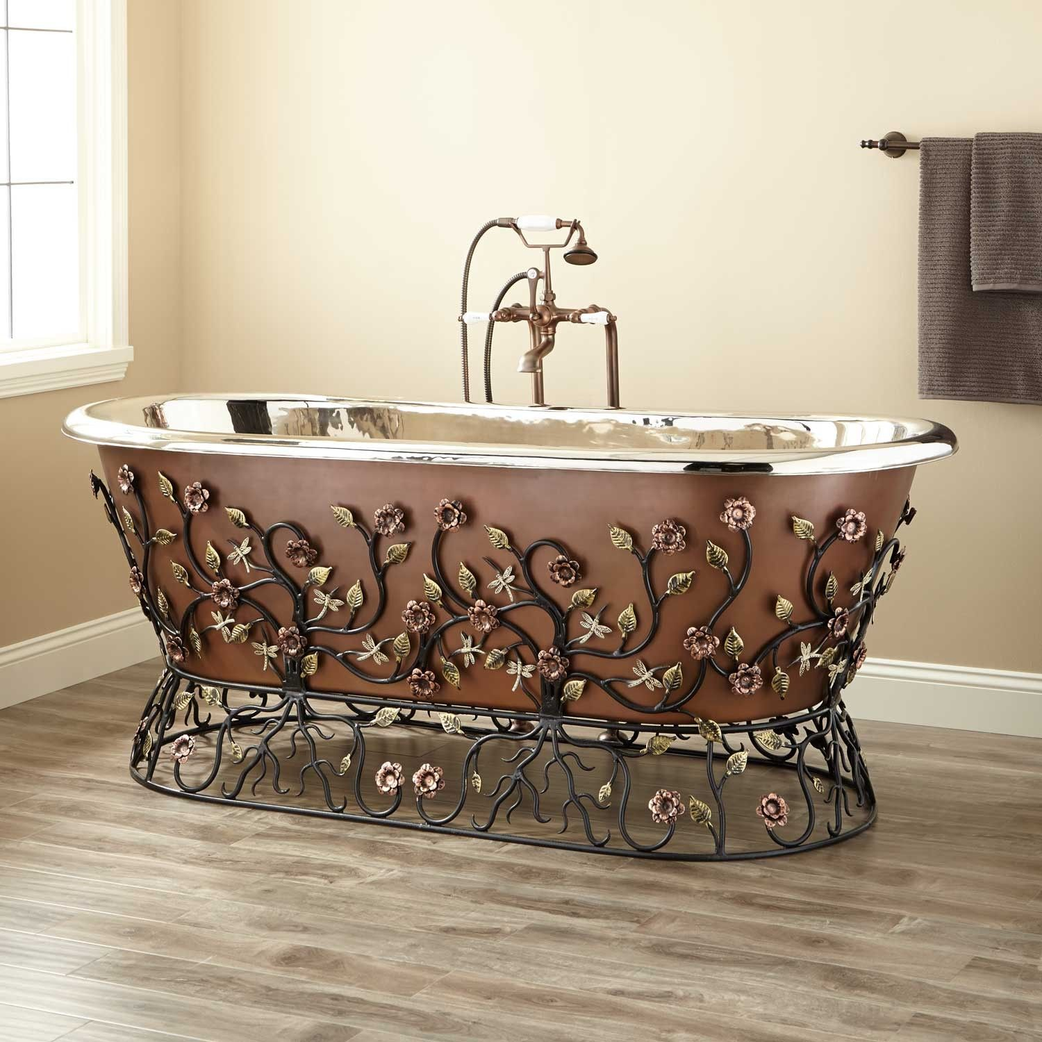 Flora Copper Tub W Wrought Iron Stand 71 Flora Smooth Copper