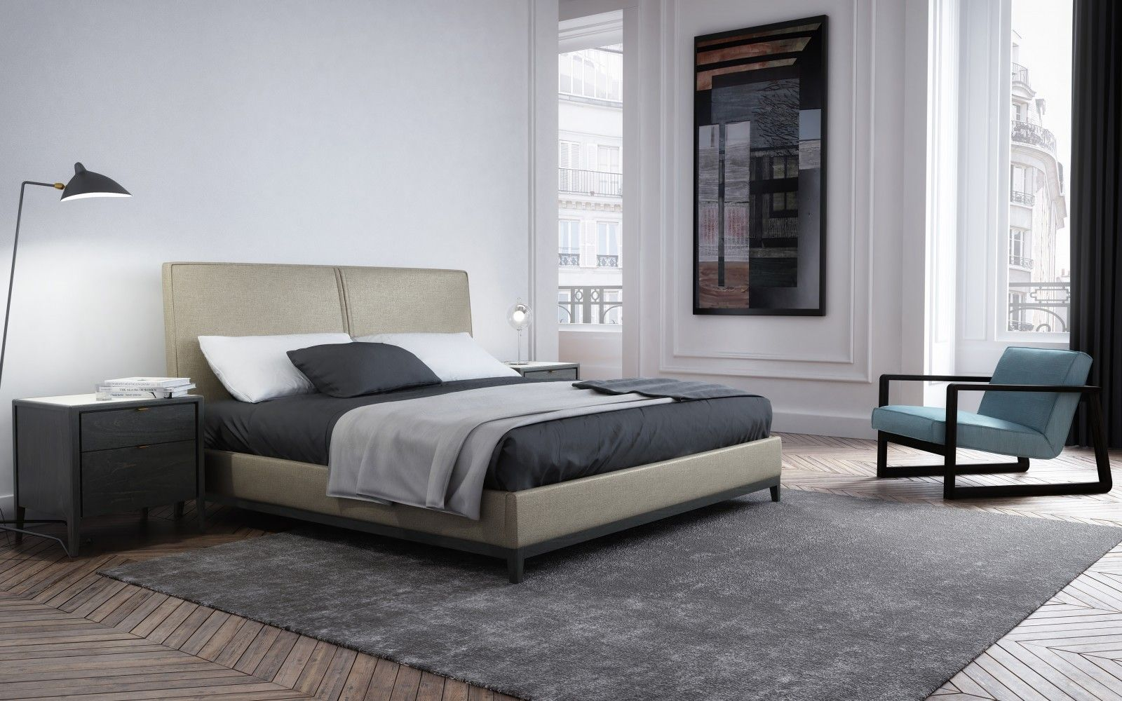 Upholstered bed, queen or king Winston Collection