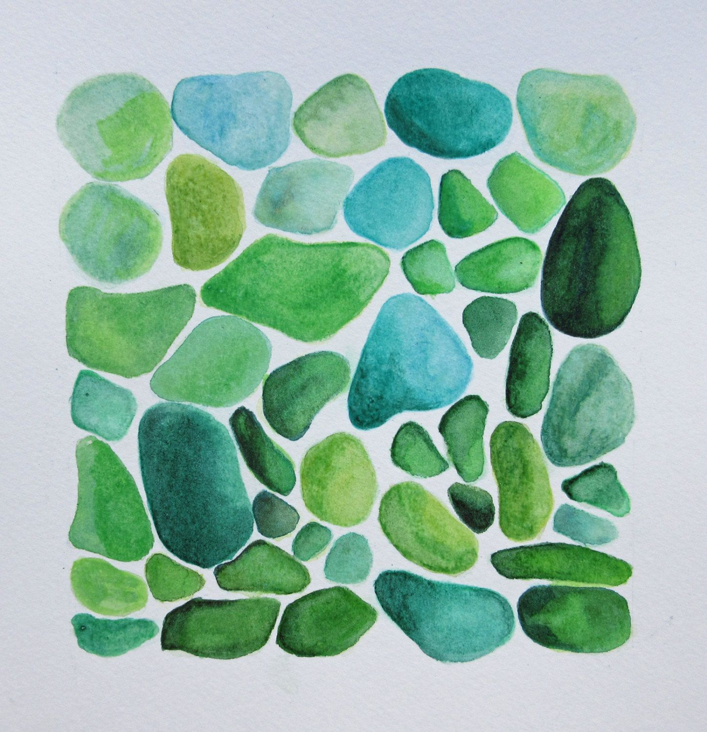 Square 8 5 X 8 5 Watercolour Sea Glass Greens Blues Nautical