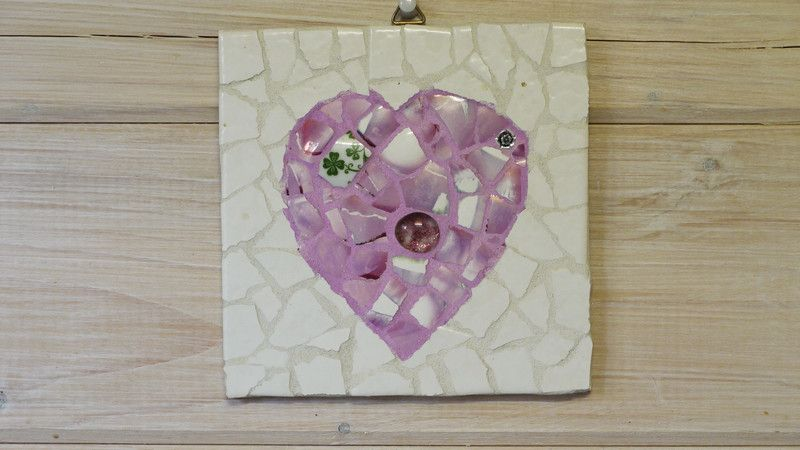 Shabby Chic Herz Wandbild Mosaik Fliese Upcycling von Mosaik-und Kreativwerkstatt auf DaWanda.com