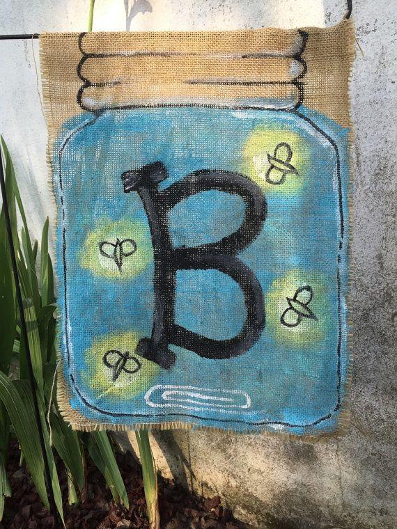 Firefly Mason Jar Initial Garden Flag by TweedleB on Etsy