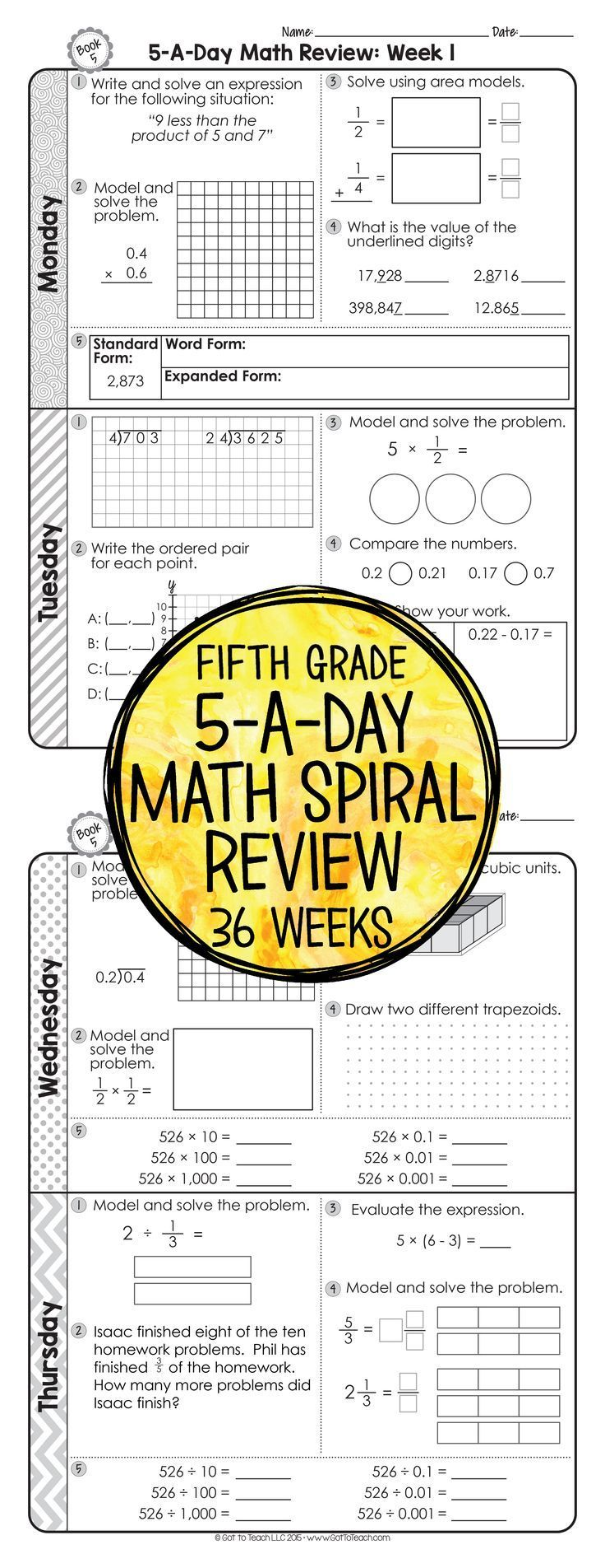 small resolution of 5th Grade Daily Math Review   Math spiral review