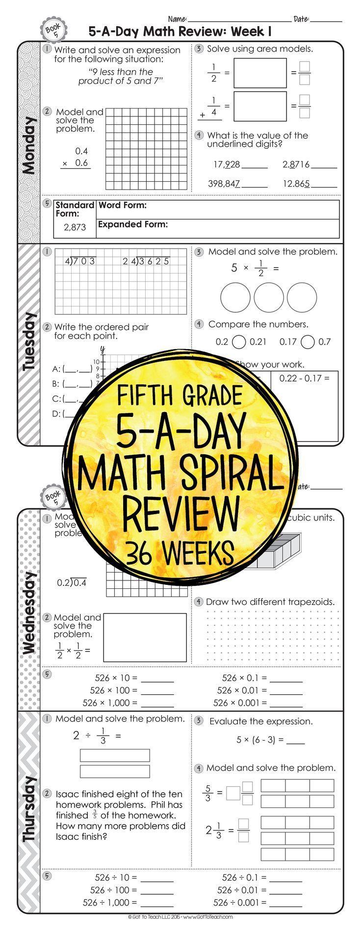 5th Grade Daily Math Review   Math spiral review [ 1904 x 736 Pixel ]