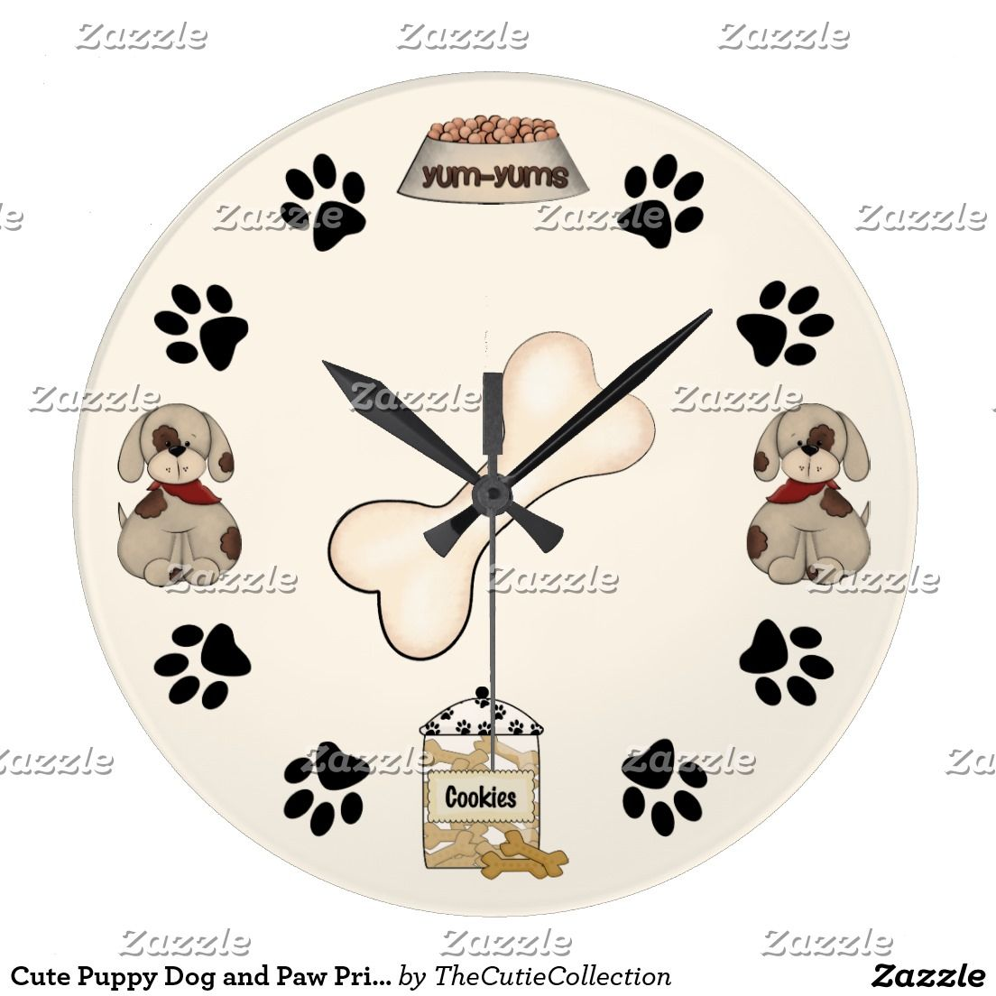 Cute Puppy Dogs, Paw Prints and Bone Large Clock Zazzle