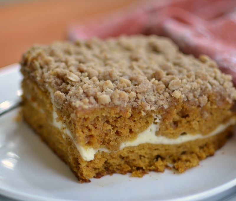 This Scrumptious Moist Pumpkin Cream Cheese Crumb Cake Is Has A Lightly Sweetened Thin Layer Of