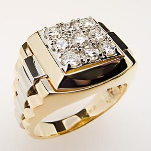 Mens Diamond Ring TwoTone 14K Gold w Bold Accents EraGem A