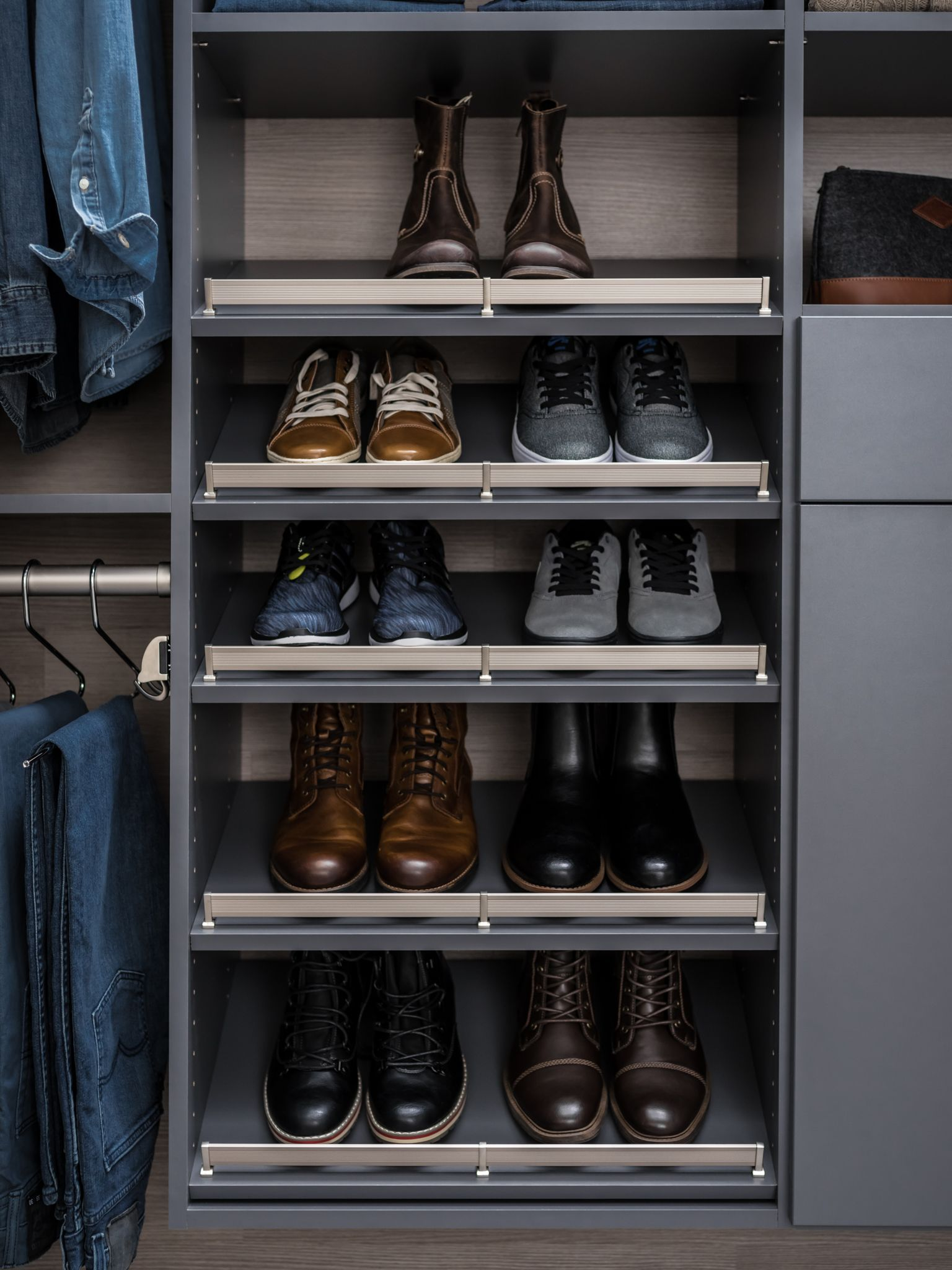 Slanted Shoe Shelves. Shoe ShelvesCustom ClosetsCloset ...