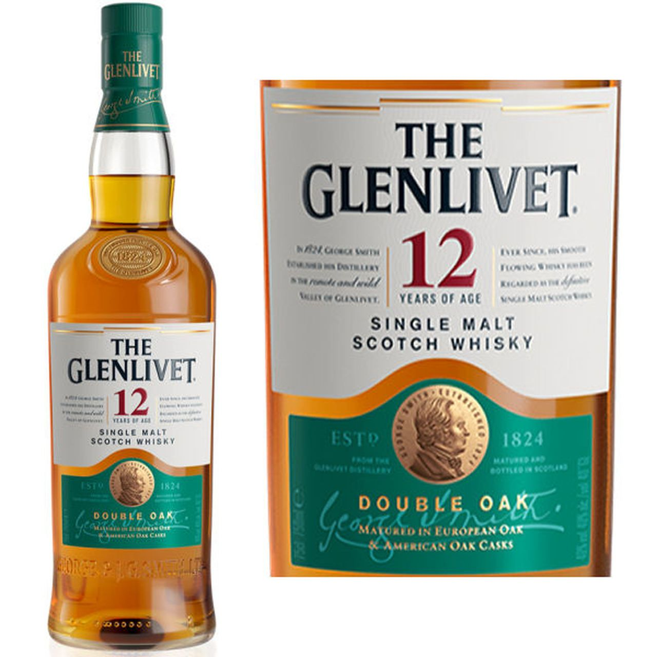 The Glenlivet 12 Year Old Double Oak Speyside 750ml Single Malt Malt Speyside