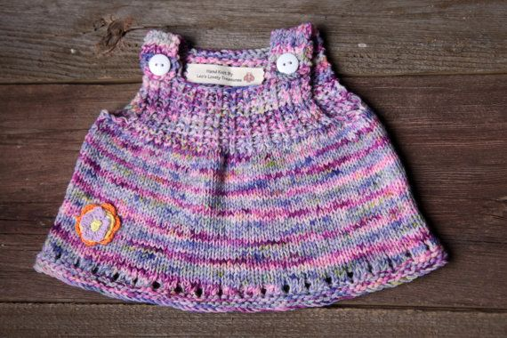 Knit Baby Tunic Dress 0-3 Months Baby by LeosLovelyTreasures