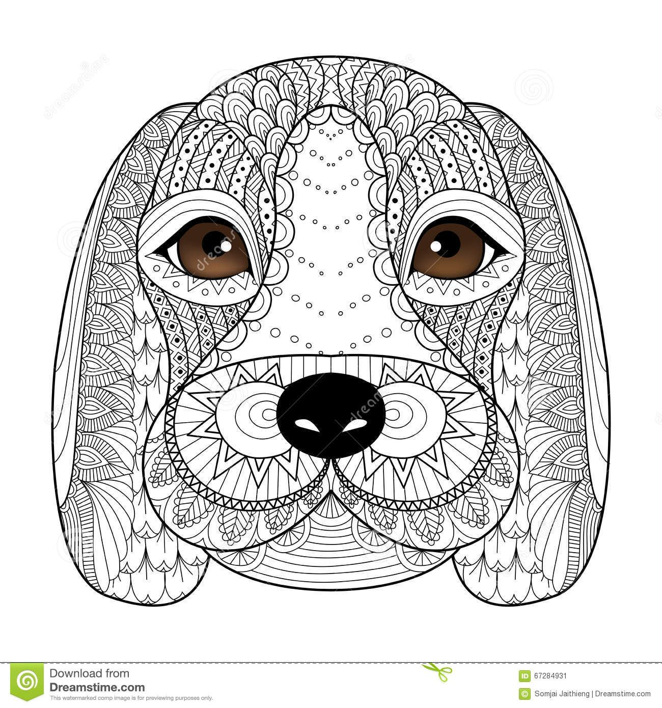 Beagle Puppy Line Art For Coloring Book For Adult, T-shirt Design ...