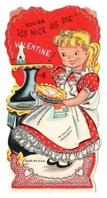 Girl Baking A PIE Vintage Glitter Card.