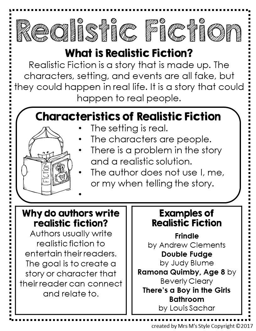 Worksheets Realistic Fiction Worksheets genre mini anchor charts and charts