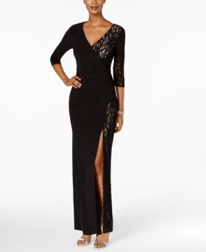 86095c4d672 R   M Richards Petite Lace Faux-Wrap Gown - Black 4P