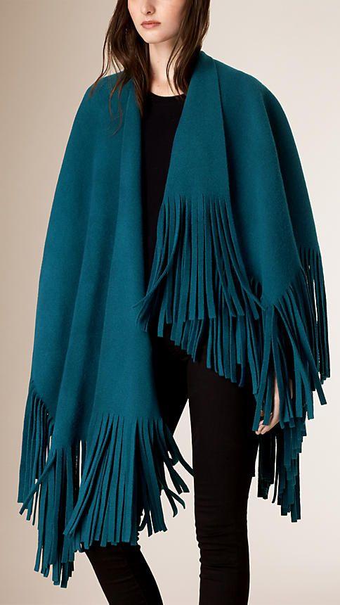 Azul oceano Poncho de cashmere e de feltro de lã com franjas