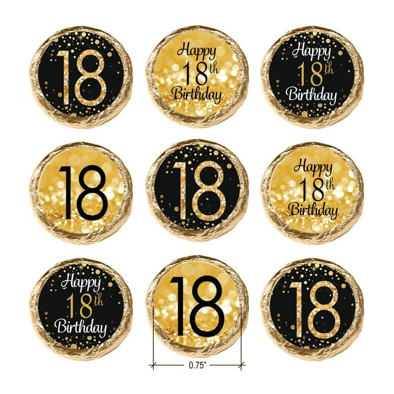 Black and gold 18th birthday party favor stickers 180