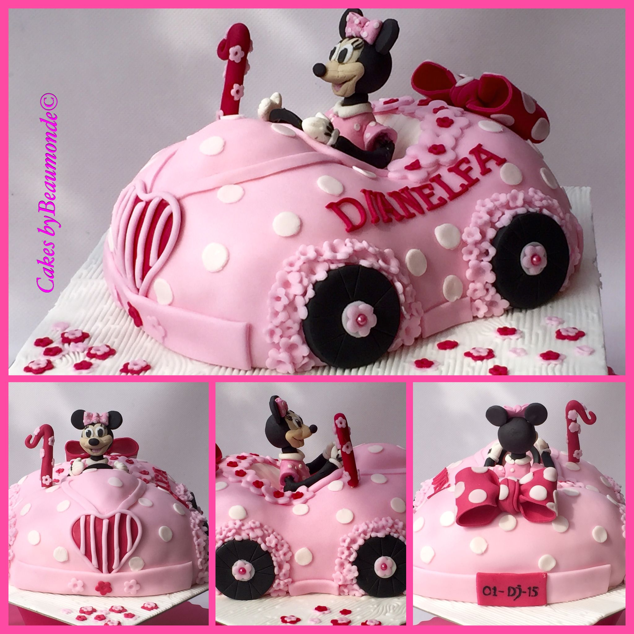 3D Minnie Mouse auto taart Minnie Mouse car cake Cakes by