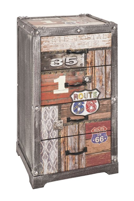 Kommode in Vintagelook mit 4 Schubladen und im Route 66 Style - schubladen für küchenschränke