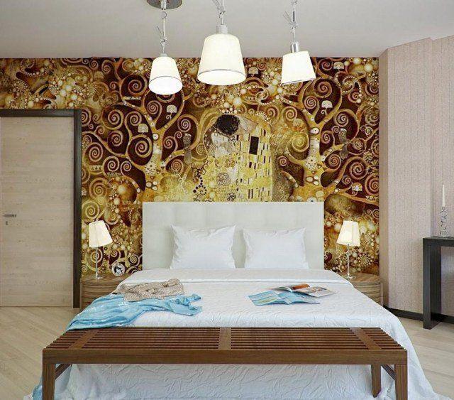 le-baiser-gustav-klimt-décoration-murale-romantique | Chambre ...