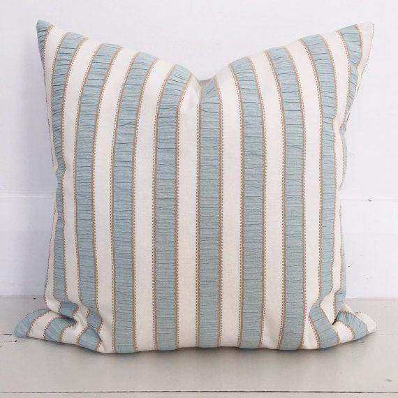 Duck egg blue stripe & natural european linen cushion cover - designer cushion 50 x 50 cm - FREE SHIPPING Australia wide