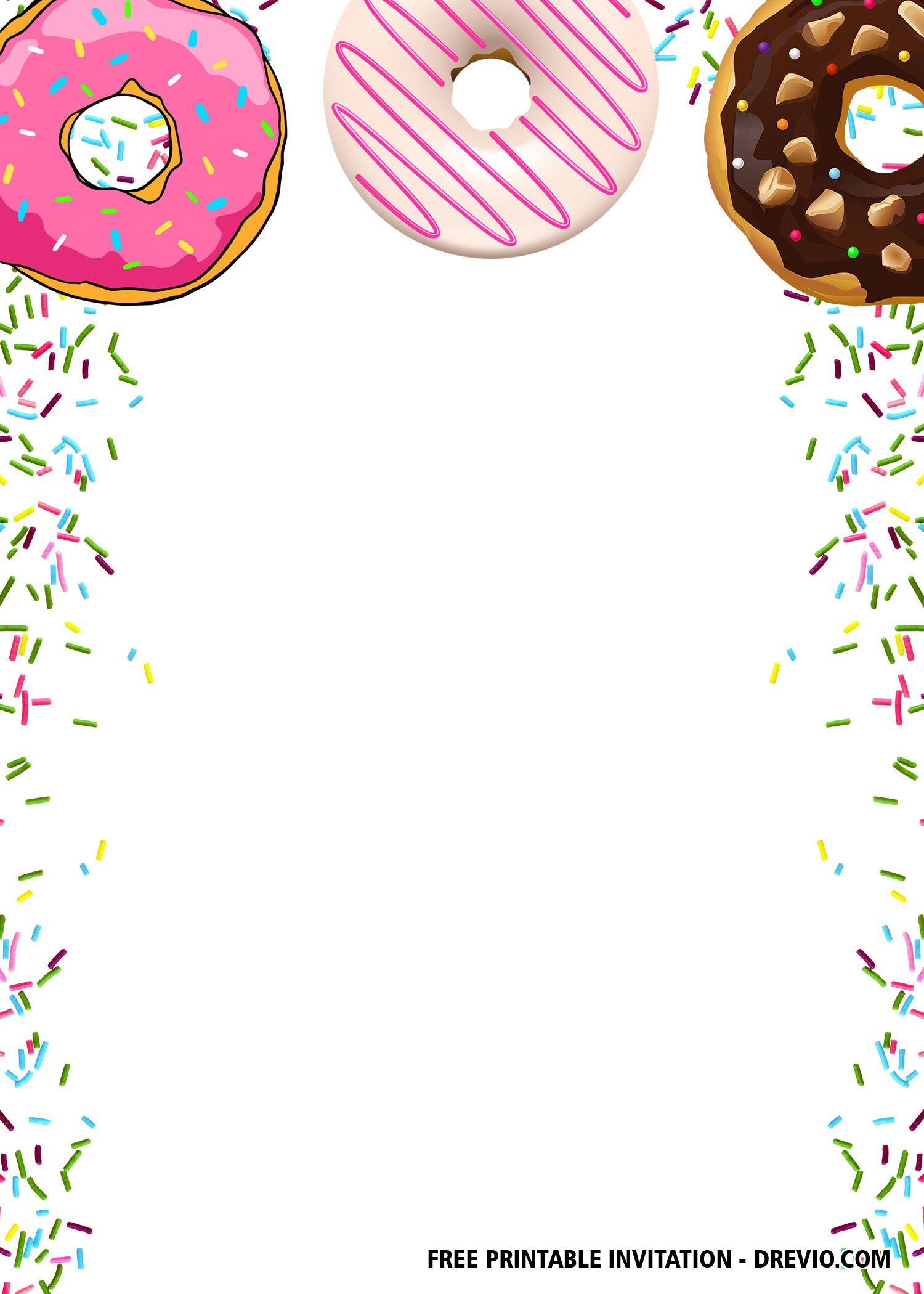 FREE Editable Donuts Party Invitation Templates  DREVIO  Donut