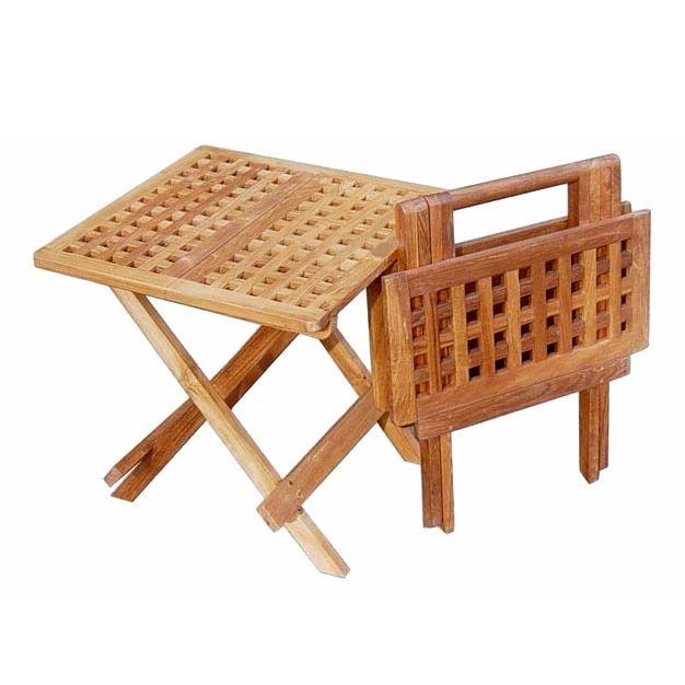 Good Teak Lattice Folding Side Table
