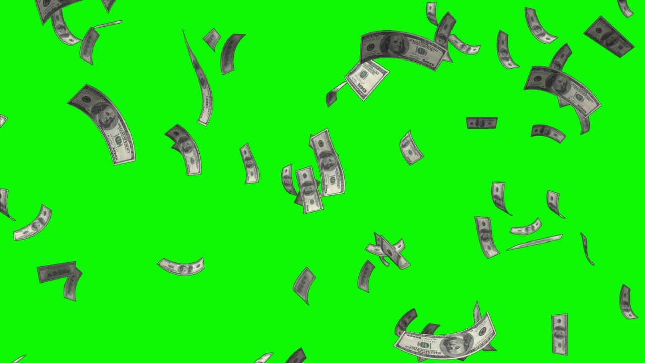 Dollars Money Falling Free Background Animation Loop Footage Green Scree Greenscreen Free Green Screen Green Screen Backgrounds