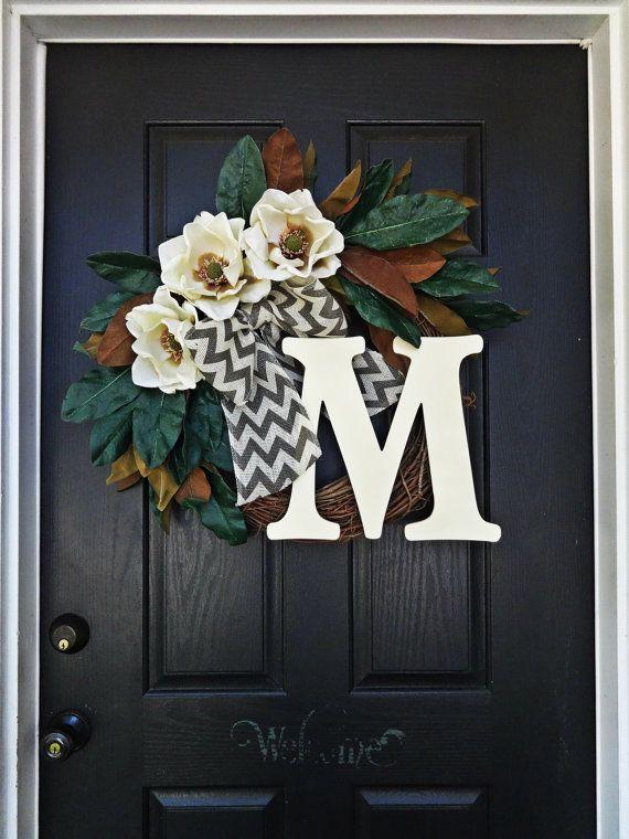 Photo of The ultimate magnolia wreath, magnolia monogram wreath, chevron burlap wreath, large monogram wreath, southern charm wreath, green wreath
