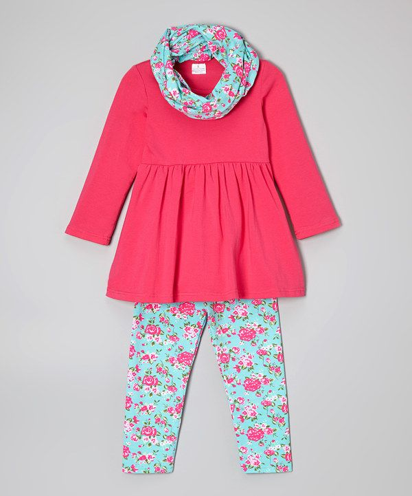 Look at this Hot Pink Tunic Set - Girls on #zulily today!