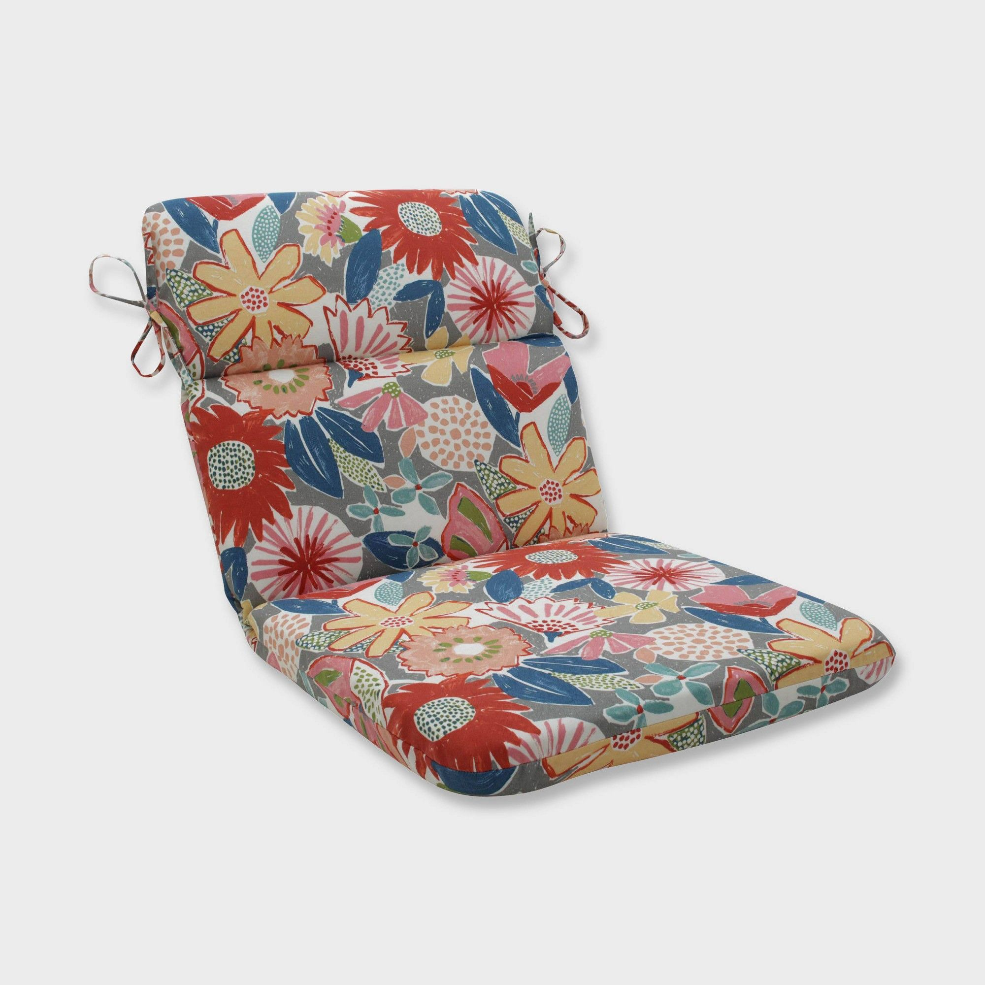 Terrific Catching Rays Poppy Rounded Corners Outdoor Chair Cushion Beutiful Home Inspiration Aditmahrainfo