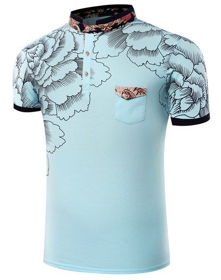 $10.68 Stand Collar Floral Printing Short Sleeve T-Shirt For Men