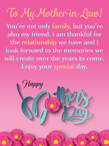 You Re Also A Friend Happy Mother S Day Card For Mother In Law Birthday Greeting Cards By Davia Mother Day Wishes Happy Mothers Day Wishes Birthday Message For Mother