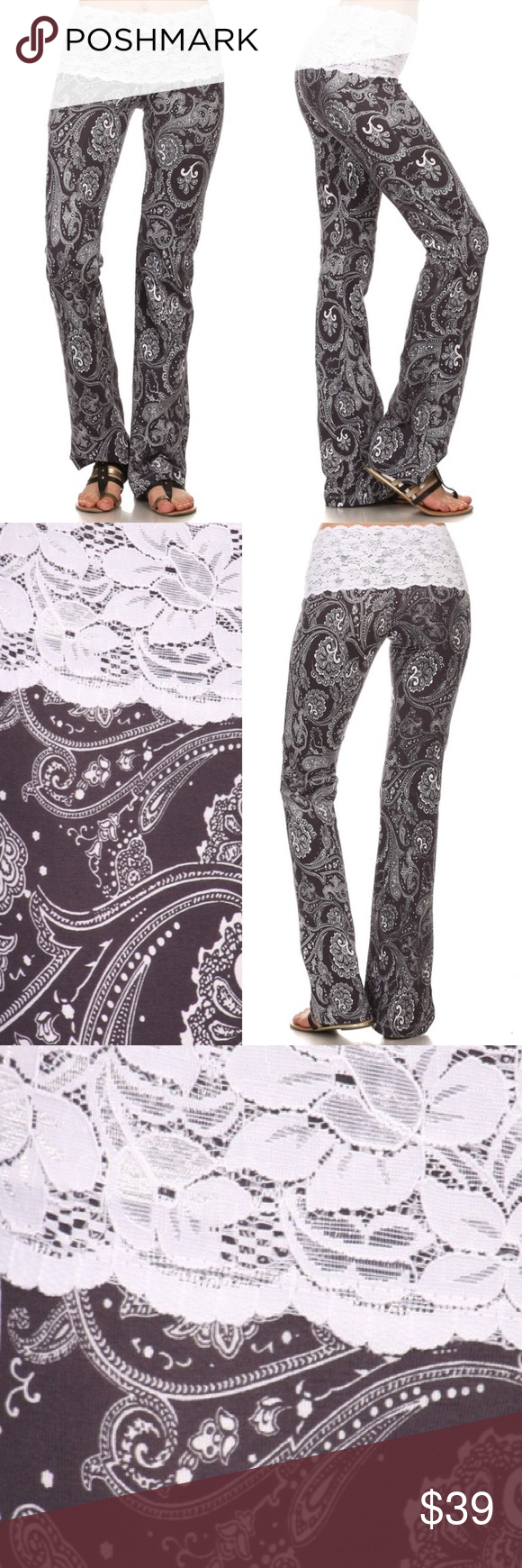 92d6d748c96abf Yoga Pants Paisley LACE Waist No Show Leisure NWT S M L available Chatoyant  C30178-10 CHARCOAL GRAY & WHITE LACE waist Paisley bootcut yoga leisure  resort ...