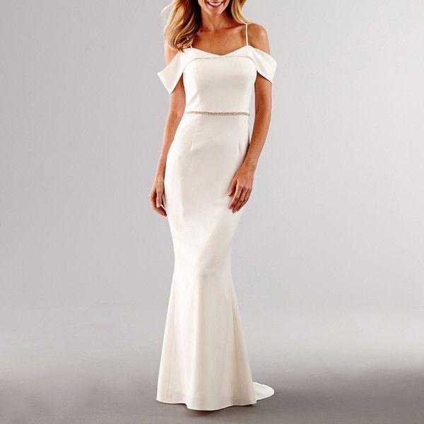 Scarlett Off-the-Shoulder Rhinestone-Trim Bridal Gown
