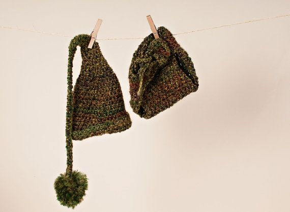 Crochet Elf Hat And Diaper Cover/Baby by thewhimsicalelephant, $40.00