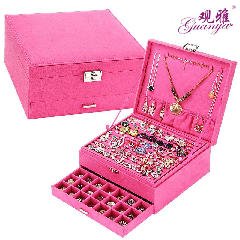 Promo New Style Luxury Jewelry Boxes 3 Layers With Lock Large Space