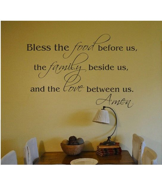 Kitchen Dining Room Wall Quote Sign Vinyl Decal Sticker Religious Verse Family Bless This Food