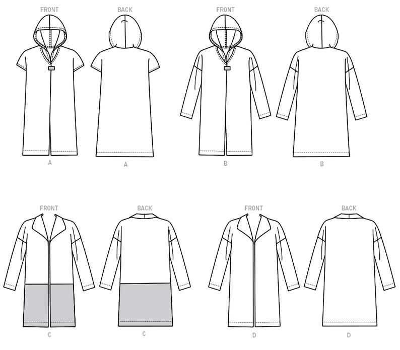 Unlined Coat Sewing Pattern Loose Fitting Coat Pattern