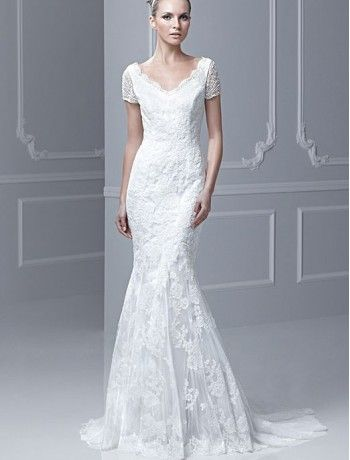 Lace V-Neckline Mermaid Wedding Dress with Short Sleeves - Bridal ...