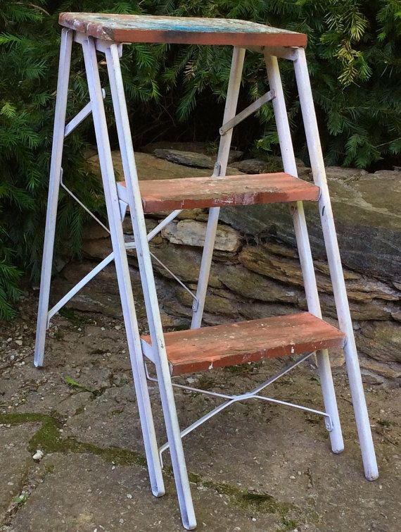 """Mid-century 1950's 24"""" step ladder with metal legs and wood grooved steps"""