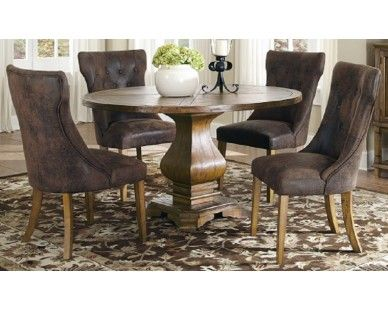5 Piece Dining Set Coffee Color Stained Look Sam