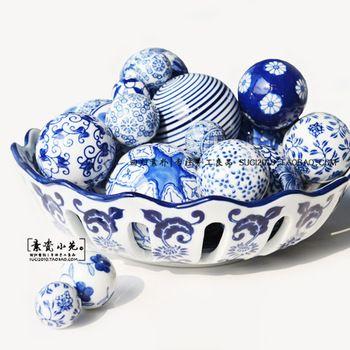 Decorative Marble Balls Estilo Chino De Cerámica Pintado A Mano Decoración Float Pecera